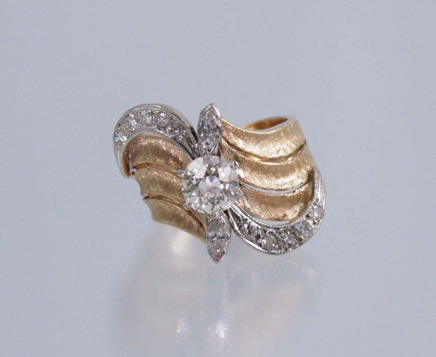 12: ART DECO 14k GOLD RING 1.47 CT OLD EURO PLUS SZ 8.5