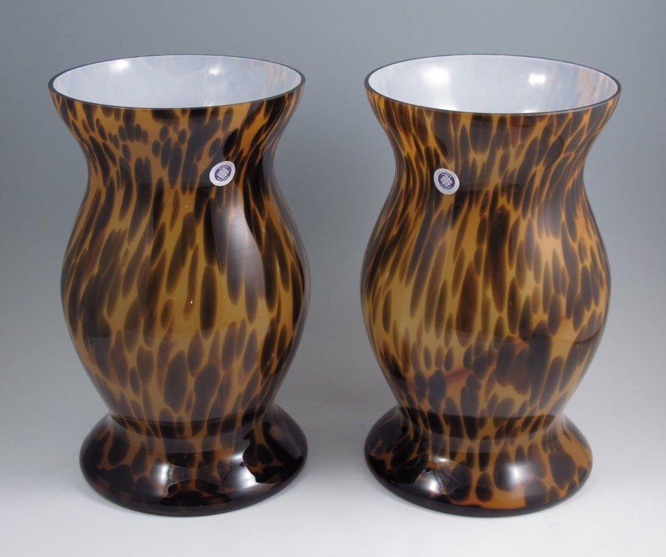 422: PAIR OF POLISH MOMO PANACHE GLASS VASES