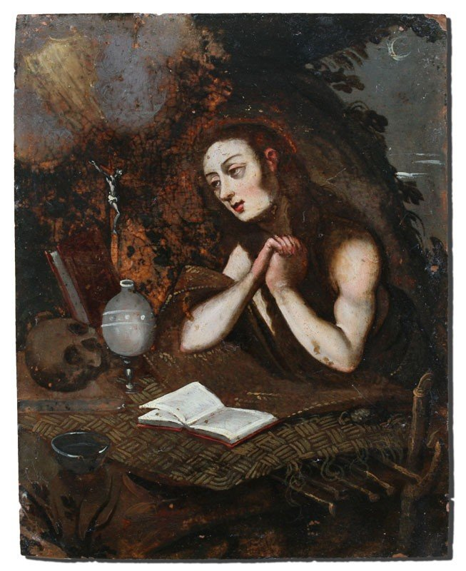 15: EARLY OIL/COPPER PAINTING OF ST JEROME
