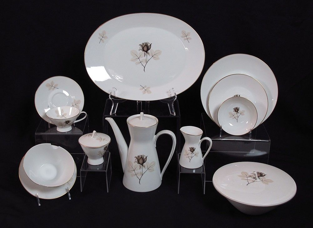 380: 80 PC ROSENTHAL SHADOW ROSE FINE CHINA FOR 12