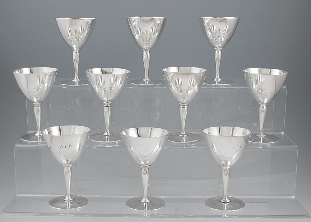 2: SET OF 10 TIFFANY & CO. STERLING CORDIAL STEMS
