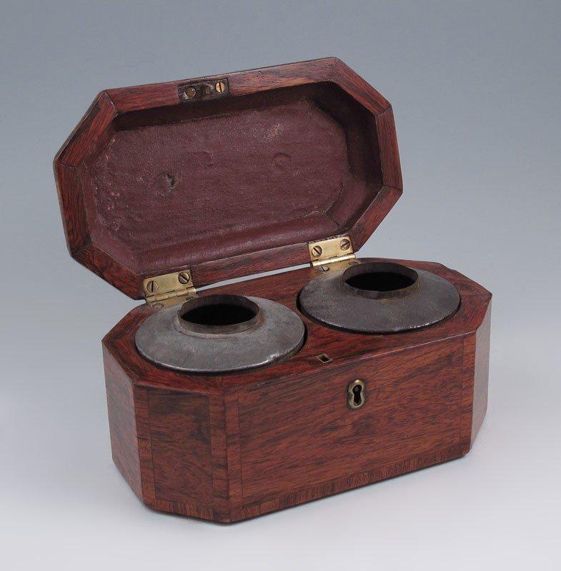 15: CA. 1830's ROSEWOOD TEA CADDY