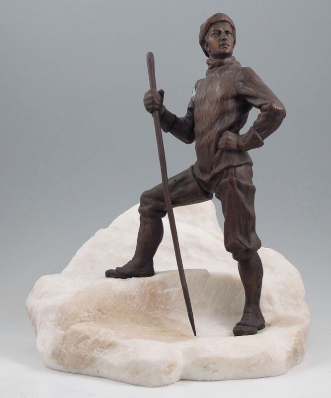 17: BRONZE AND MARBLE SCULPTURE OF AN ARCTIC EXPLORER