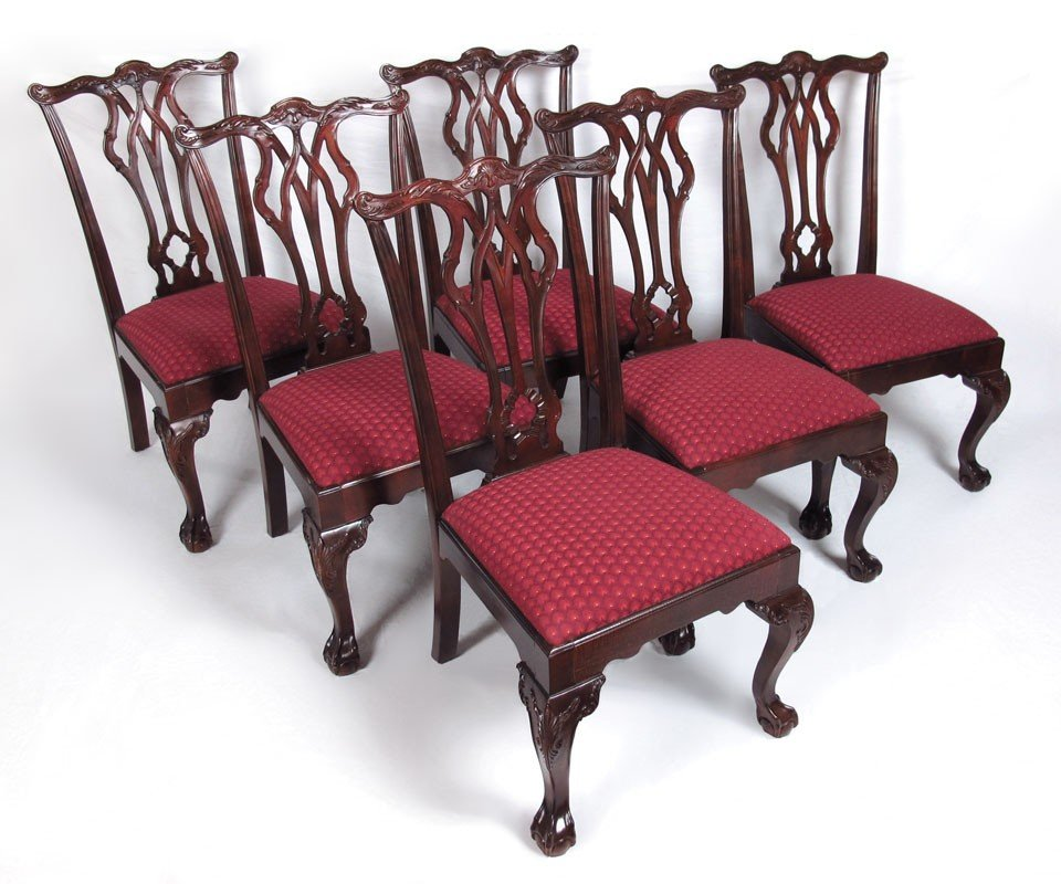 19: SET OF 6 CENTURY CHIPPENDALE STYLE DINING CHAIRS