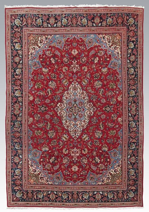 113: PERSIAN YEZD OR KASVIN HAND KNOTTED WOOL RUG