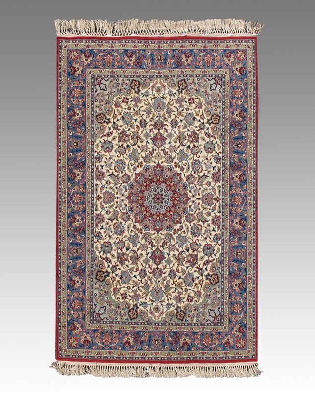 63: PERSIAN NAIN OR QUM HAND KNOTTED WOOL AND SILK RUG