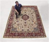 256A: PERSIAN TABRIZ HAND KNOTTED WOOL RUG, 9' X 12'