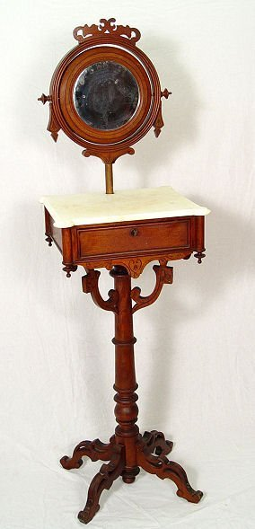 7: VICTORIAN MARBLE TOP SHAVING STAND WITH OVAL MIRROR