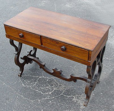 9: VICTORIAN 2 DRAWER ROSEWOOD SIDE TABLE