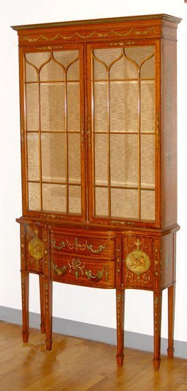 93: EARLY 20TH FRENCH PAINT DECORATED DISPLAY CABINET