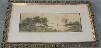 118: SIGNED 19TH C RIVER LANDSCAPE PAINTING