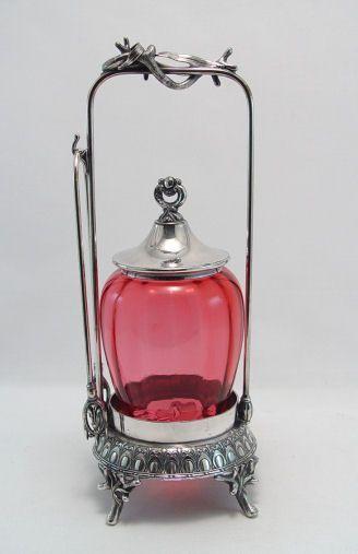 CRANBERRY GLASS MIDDLETOWN SILVERPLATE CASTOR