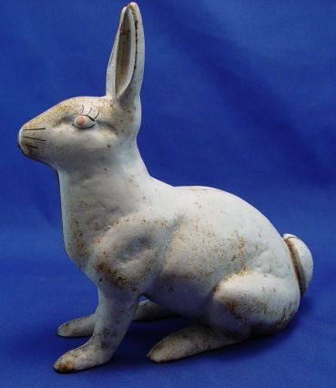477: HUBLEY WHITE RABBIT GARDEN ORNAMENT DOOR STOP - 2