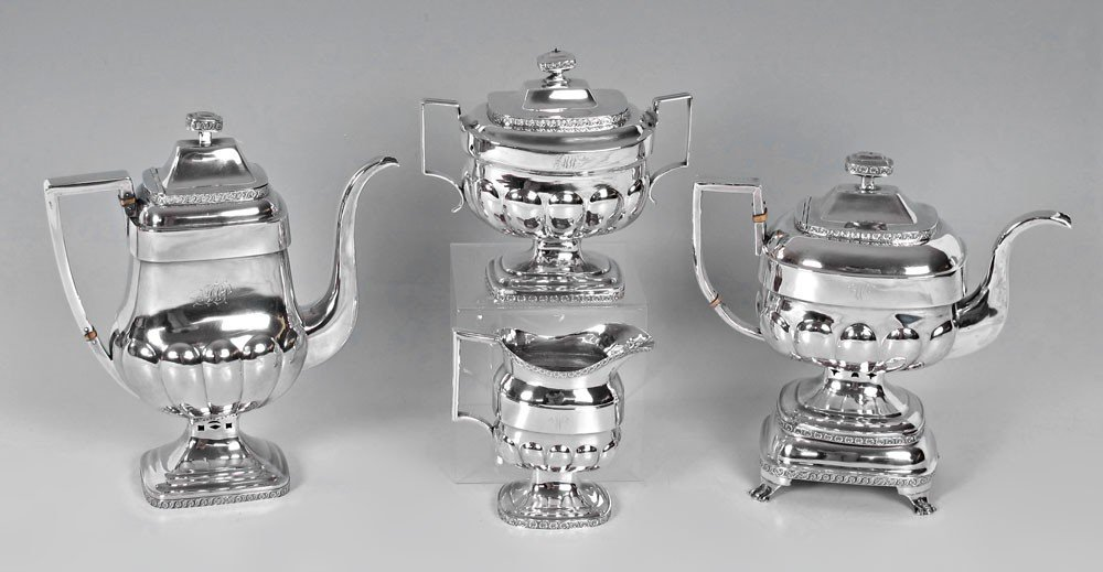 10: ASSEMBLED EARLY AMERICAN COIN SILVER TEA SERVICE