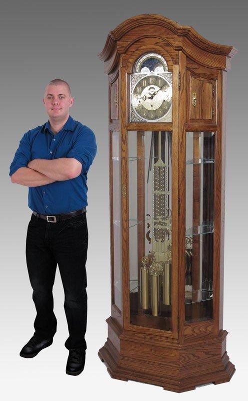 150: HOWARD MILLER MAJESTIC CURIO GRANDFATHER CLOCK - 2