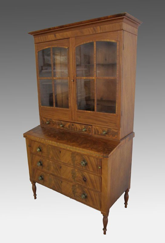 7: EARLY 19TH CENTURY NEW ENGLAND 3 DRAWER SECRETARY