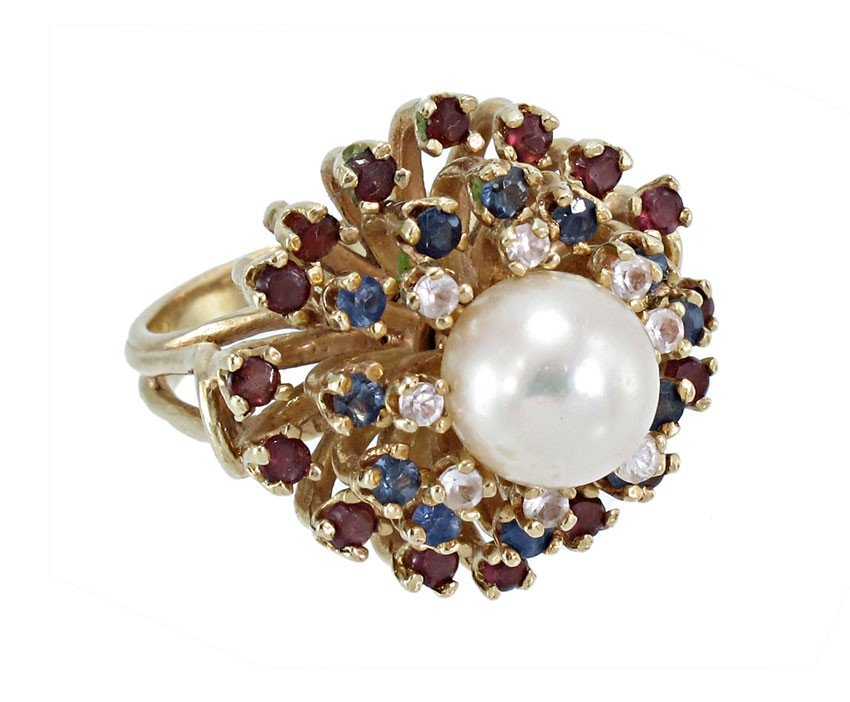 3: 14K GOLD PEARL AND GEMSTONE RING