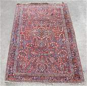 189: SEMI-ANTIQUE PERSIAN SAROUK HAND KNOTTED WOOL RUG,
