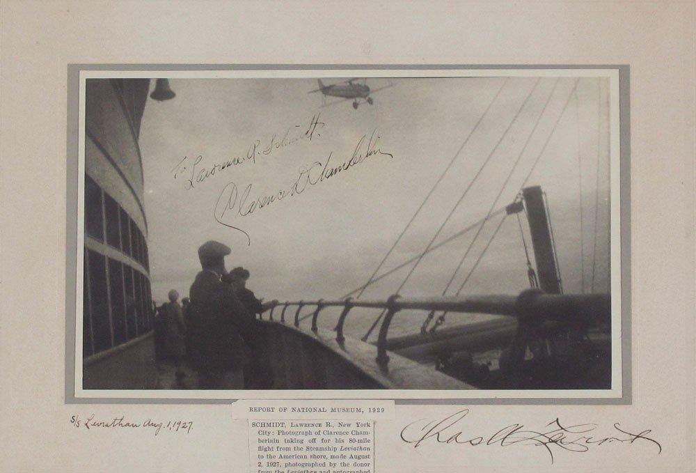 4: SIGNED CLARENCE CHAMBERLAIN CHARLES LEVINE PHOTO
