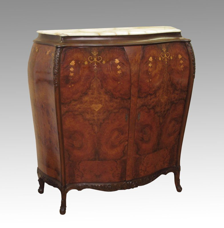 9: MARQUETRY INLAY BOMBAY FORM SIDE CABINET