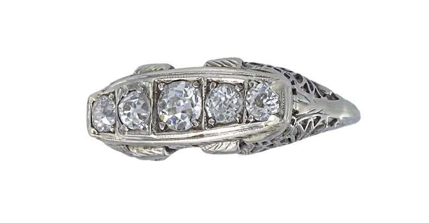 18: ANTIQUE 18K OLD EURO 1 CTW  DIAMOND RING SZ 7.5