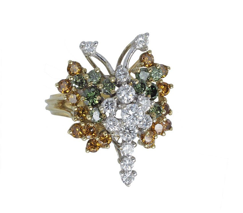 22: 2.15 CT COLORED DIAMOND BUTTERFLY RING SZ 6