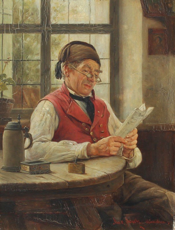 15: MAX SCHOLZ PAINTING MAN READING PAPER