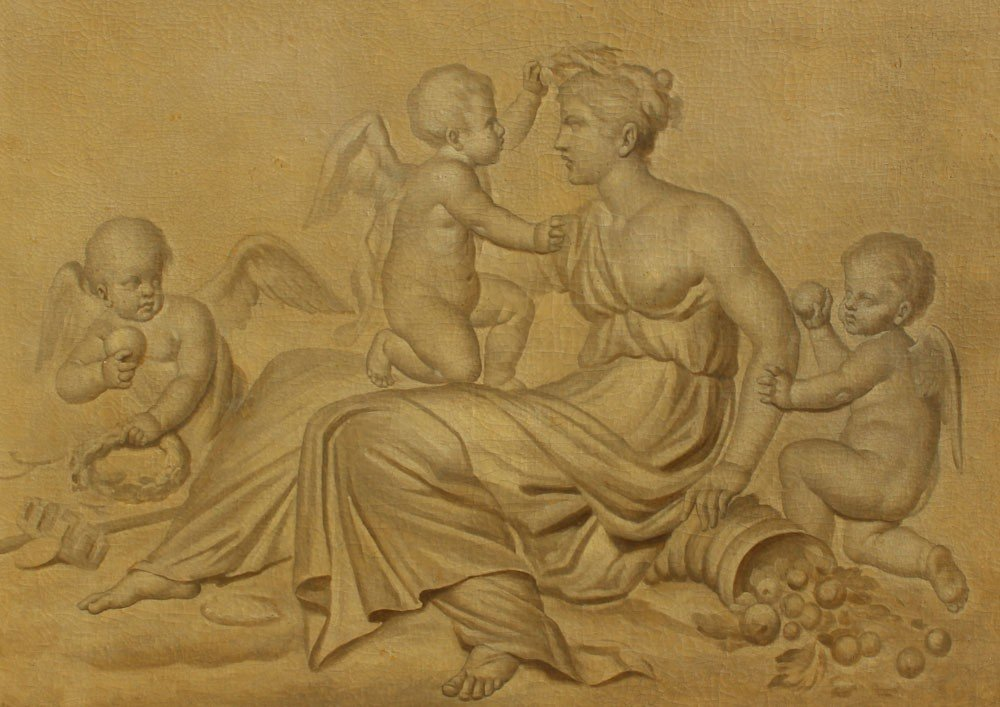 17: CIRCLE OF SAUVAGE PAINTING PUTTI AT PLAY