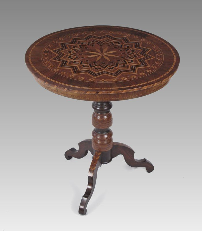 19: 19TH C PARQUETRY INLAY TEA TABLE