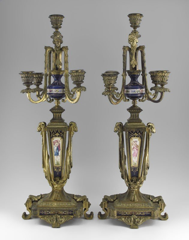 16: PAIR OF BRONZE AND PORCELAIN 5 LIGHT CANDELABRA