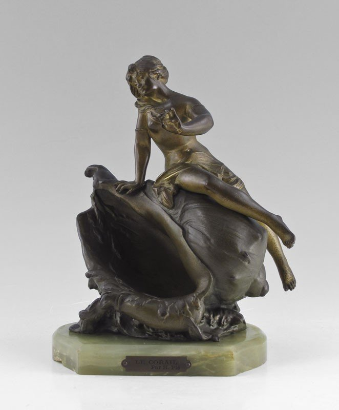 11: PATINATED BRONZE NUDE ON CONCH SHELL Henri Ple?