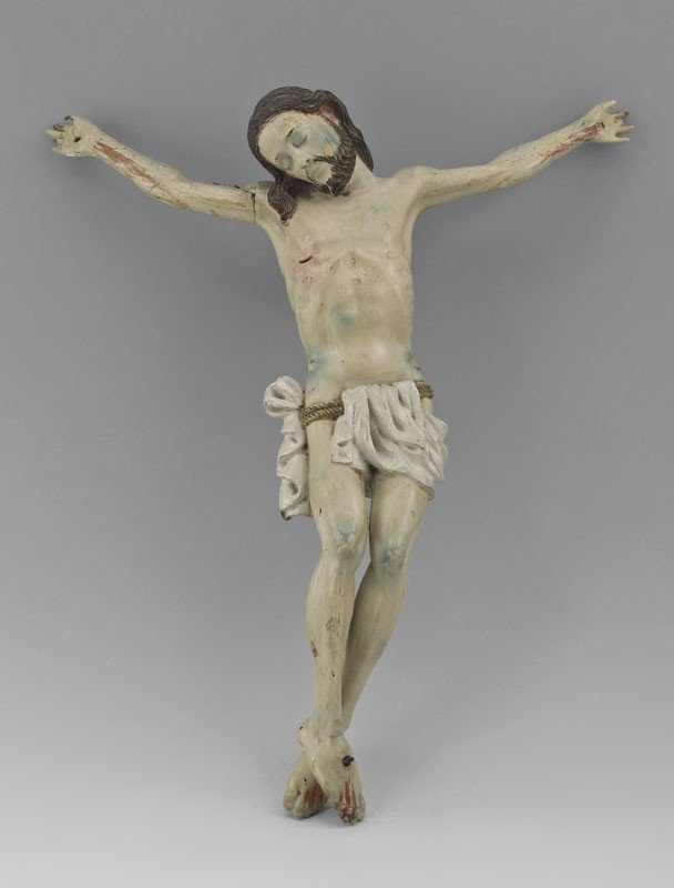 20A: EARLY CARVED PAINTED WOODEN CORPUS CHRISTI