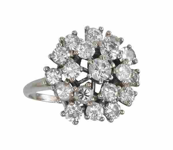 3.5 Ctw DIAMOND RING 14K WHITE GOLD 10 GR SIZE 1