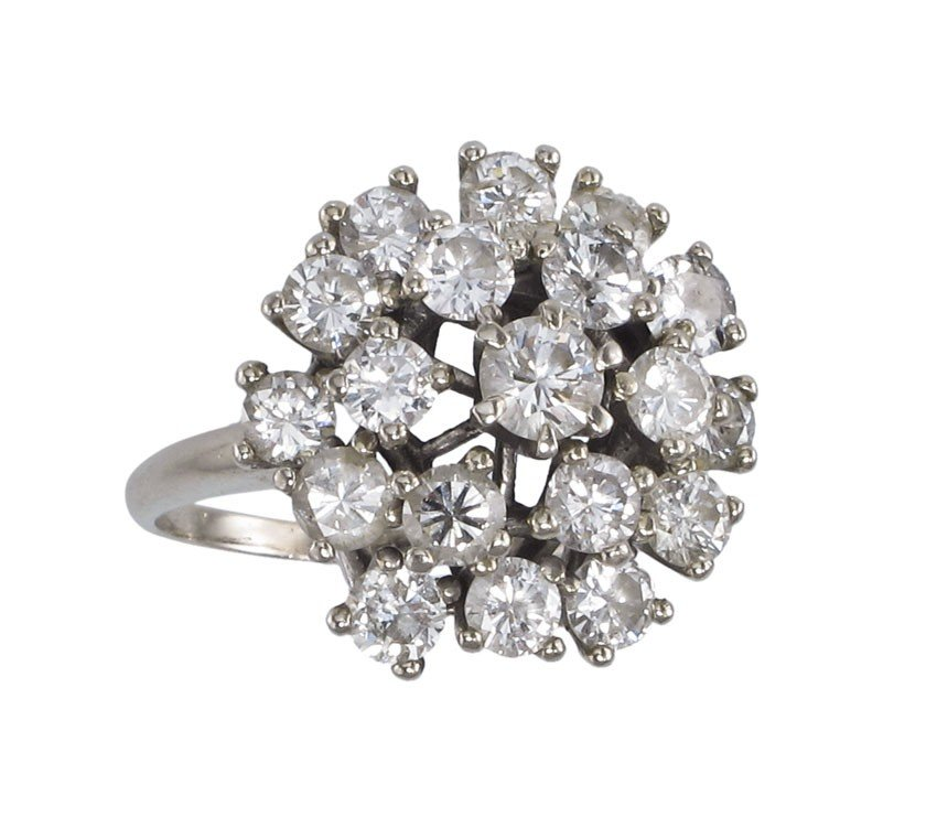 163A: 3.5 Ctw  DIAMOND RING 14K WHITE GOLD 10 GR SIZE 1