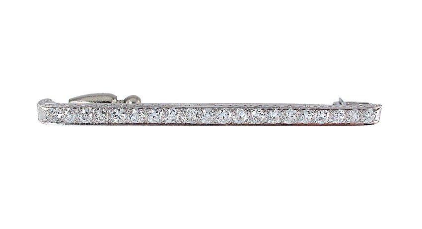 20: 1920's PLATINUM BAR PIN 3.5 CT OLD EURO DIAMONDS