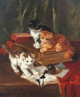 21: BERNARD NEUVILLE CATS PAINTING