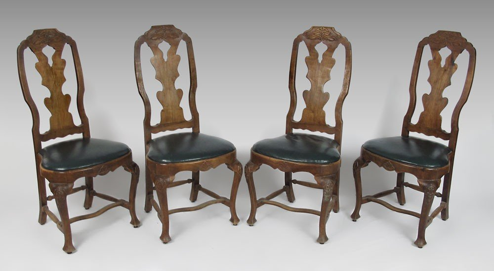 23: SET OF 4 EARLY CARVED SIDE CHAIRS