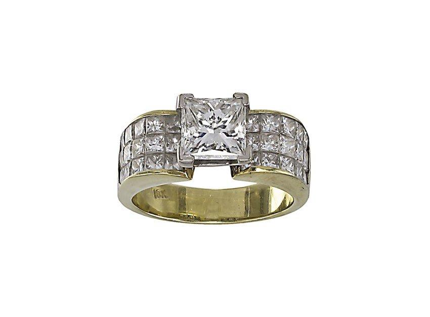 61: 2 CT CENTER DIAMOND RING PLUS 2 CTW  18k GOLD