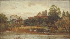 CHARLES WESTERN LANDSCAPE PAINTING ABBEY