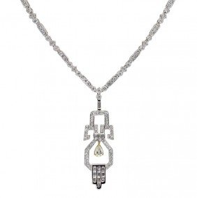 18K GOLD DECO REVIVAL 3.71 CT DIAMOND NECKLACE