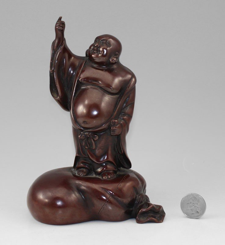 75: 19th C SIGNED SMILING BUDDHA ORIENTAL BRONZE