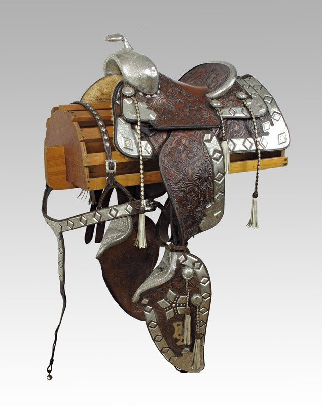 80: STERLING PARADE SADDLE BY KARL'S W/ GOLD MONOGRAMS