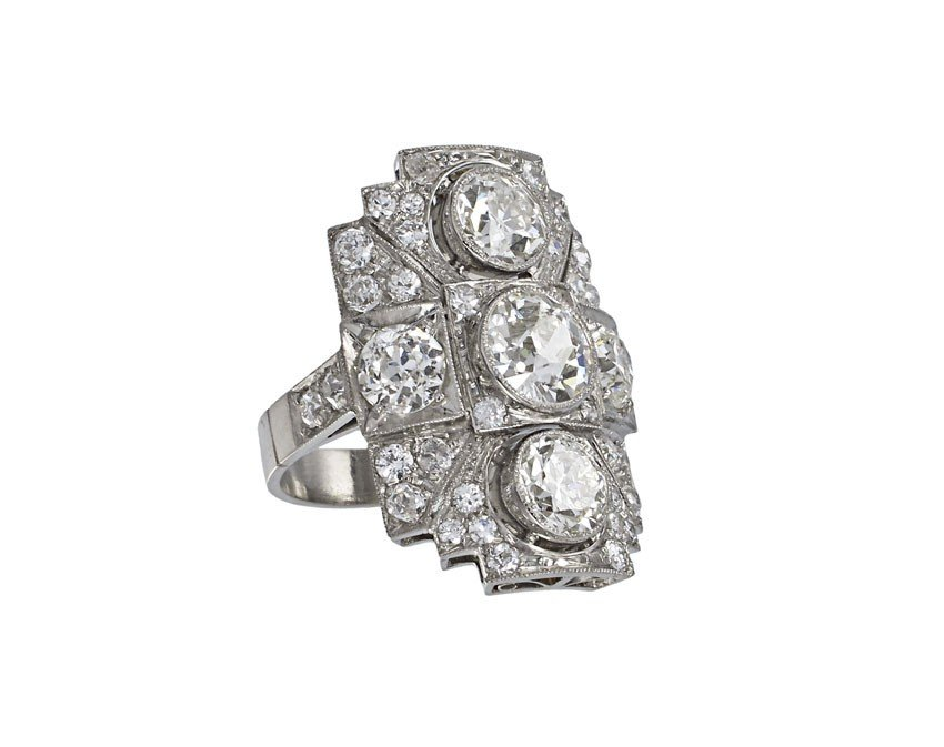 89: $36,000 PLATINUM 5.91 CTW DECO DIAMOND RING