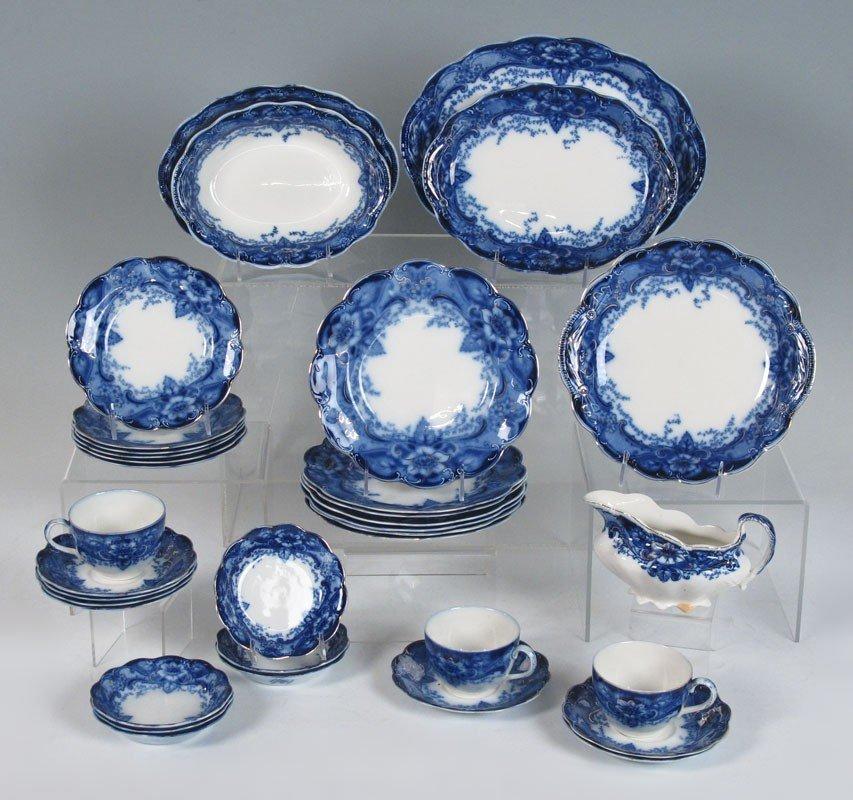 184: 34 pc JOHNSON BROS FLOW BLUE ARGYLE CHINA
