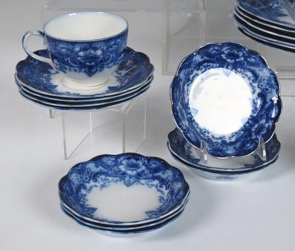 184: 34 pc JOHNSON BROS FLOW BLUE ARGYLE CHINA - 3