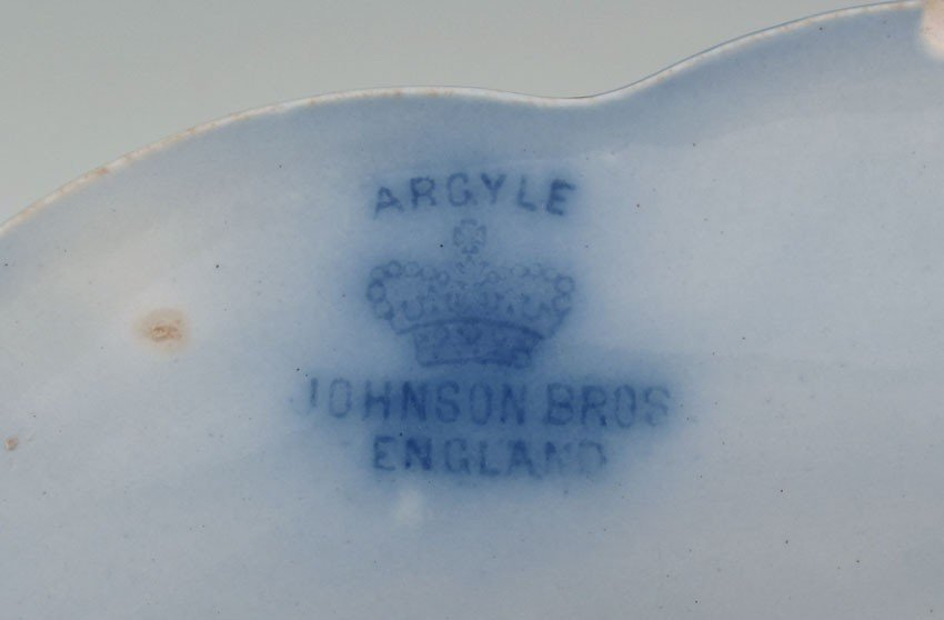 184: 34 pc JOHNSON BROS FLOW BLUE ARGYLE CHINA - 6