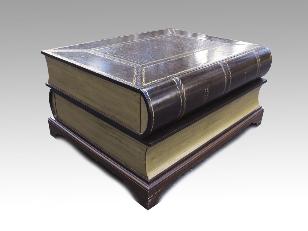 194: LEATHER COVERED STACKED BOOK COFFEE TABLE