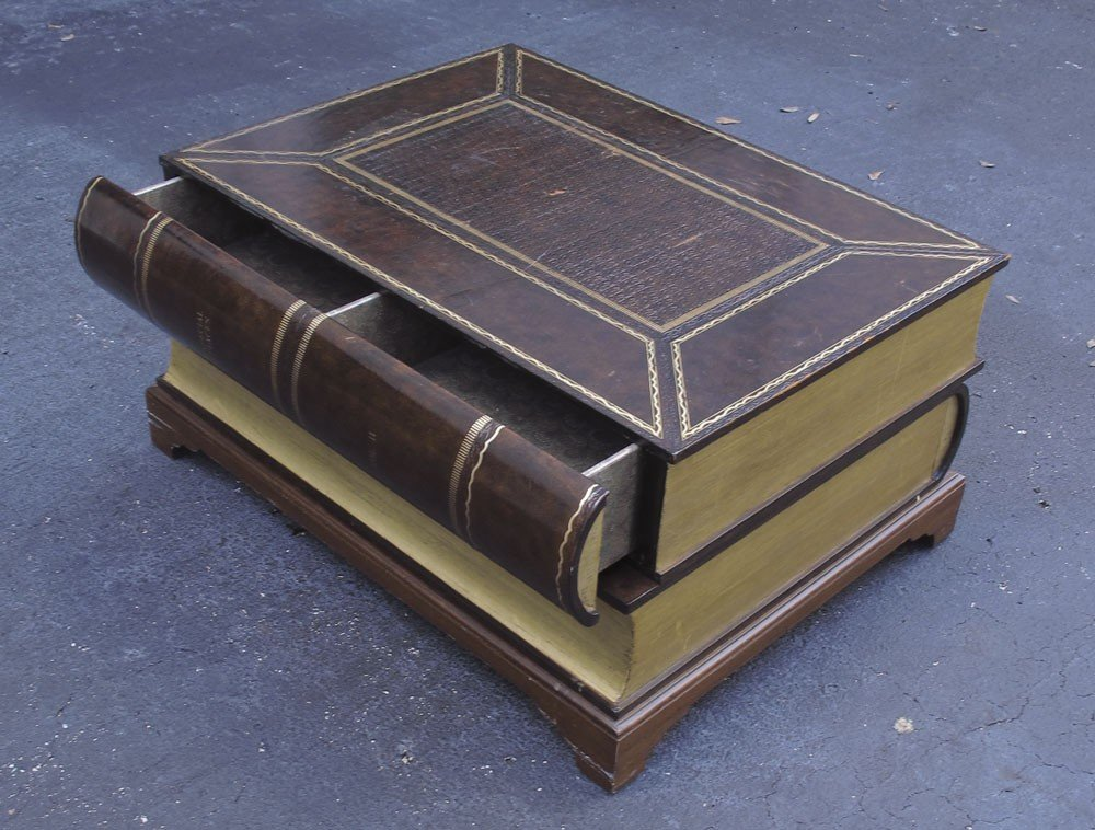 194: LEATHER COVERED STACKED BOOK COFFEE TABLE - 3