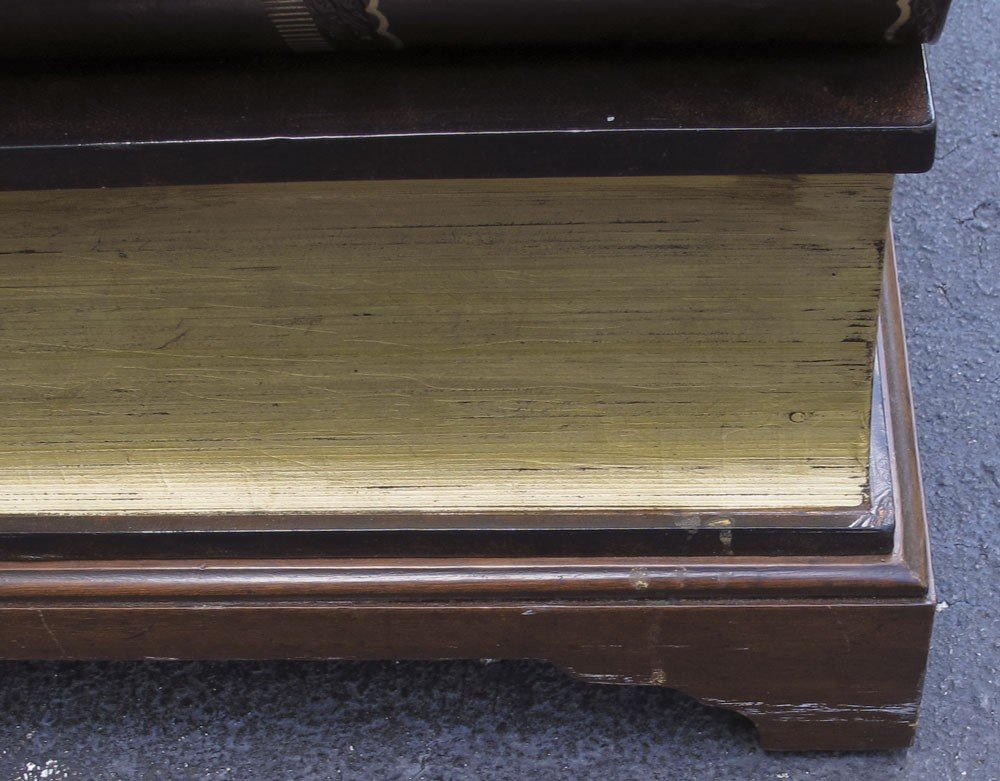 194: LEATHER COVERED STACKED BOOK COFFEE TABLE - 4