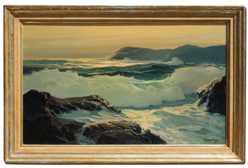 195: PHILIP SHUMAKER SEASCAPE PAINTING - 2